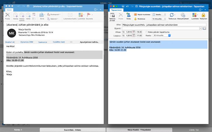Viestejä vierekkäin Outlookin Koko näyttö -näkymässä