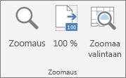 Excel-valintanauhan Zoomaus-ryhmä
