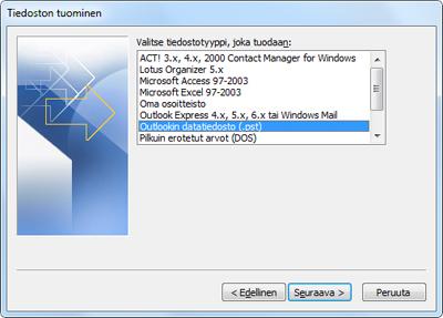 Ohjattu tuominen ja vieminen -toiminto, jossa Outlookin datatiedosto (.pst) valittu