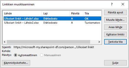 Excelin Muokkaa linkkejä-valinta ikkuna tieto > kyselyjen & yhteydet > muokkaus linkit