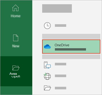 Officen Avaa-valinta ikkuna, jossa näkyy OneDrive-kansio