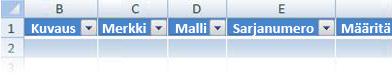 Excel-taulukko-otsikoiden mukauttaminen