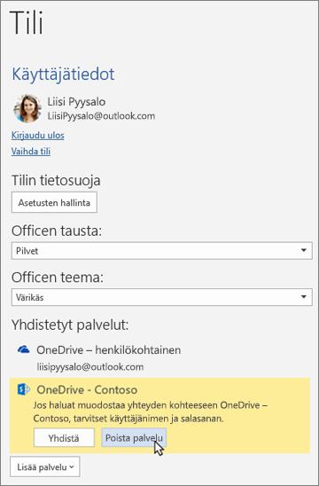 """Office-sovellusten Tili-ruutu, jossa korostetaan """"Poista palvelu"""" -vaihtoehtoa Yhdistetyt palvelut -osiossa"""