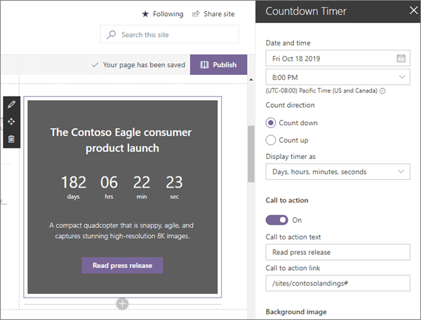 Countdown Timer-verkko-osa: modernin Enterprise-aloitus sivuston esimerkki SharePoint Onlinessa