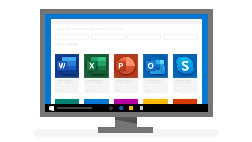 Tietokone, jossa ovat näkyvissä Windowsin suosikkisovellukset