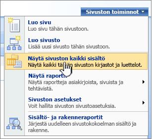 Sivuston toiminnot -valikko, jossa on korostettuna Näytä sivuston kaikki sisältö