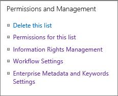 Luettelon käyttöoikeudet- ja Hallinta-asetukset-linkit