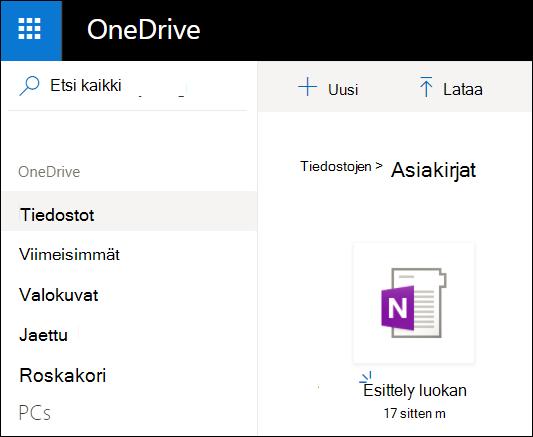 Microsoft-tilin OneDrive-asia kirjat-kansio