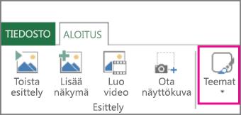 Power Mapin Aloitus-välilehden Teemat-painike