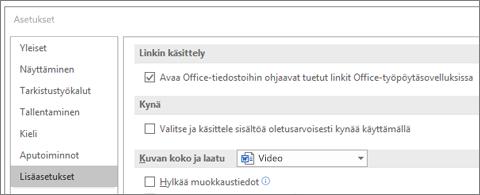 Asetukset-valintaikkuna, jossa on Avaa hyperlinkit -valintaruutu korostettuna