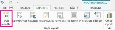 Raportti-välilehden Uusi raportti -painike