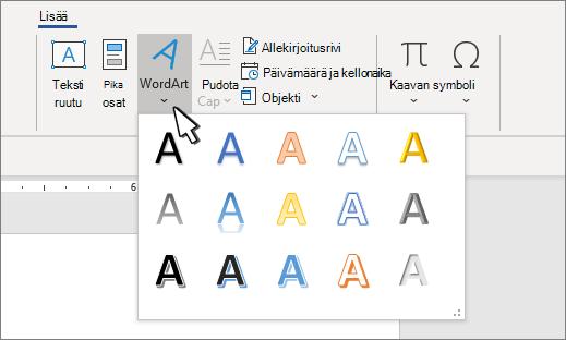 WordArt-tyylit-valikoima
