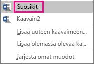 Lisää valittu muoto Suosikit-kaavaimeen valitsemalla Suosikit.