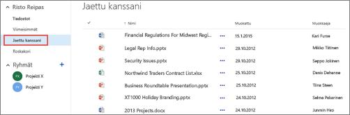 OneDrive for Businessin Jaettu kanssani -näkymässä näkyviä asiakirjoja, joita käyttäjät ovat jakaneet kanssasi.