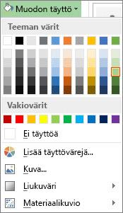 Muodon täyttö -väriasetusten valikko