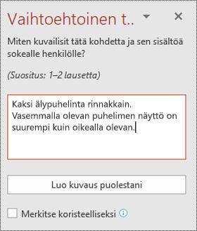 Vaihtoehtoinen tekstiruutu PowerPoint for Windowsissa