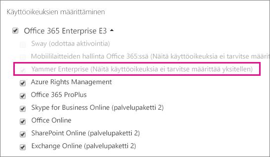 Näyttökuva Office 365 -hallintakeskuksesta, jossa Yammer Enterprisen käyttöoikeus on valittuna.