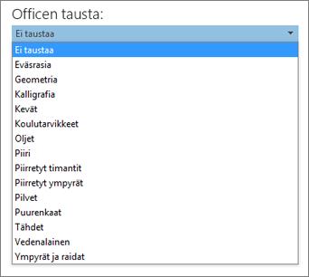 Office-taustojen luettelo Office 2013 -ohjelmissa