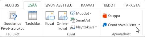 Näyttökuva Lisää-välilehdessä Excel-nauha, jossa omat sovellukset osoitin osan. Valitse Omat sovellukset access-sovelluksissa Exceliin.