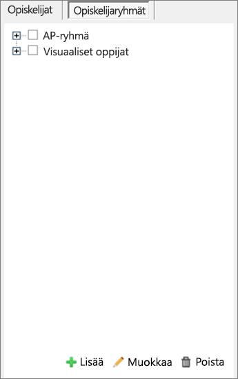 Jaa sivut -ruutu, jossa Opiskelijaryhmät valittuna.