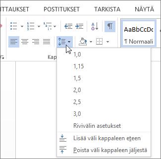 Näyttökuvan Wordin Aloitus-välilehdestä, jossa Rivi- ja kappalevälit -valikko näkyy.