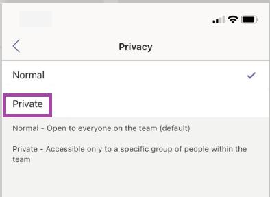 Nämä ovat yksityisen kanavan asetukset Teamsissa.