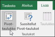 Jos haluat lisätä tyhjän Pivot-taulukon, valitse Lisää > Pivot-taulukko.
