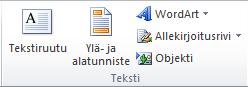 Excel 2010 -valintanauhan Lisää-välilehden Teksti-ryhmä.