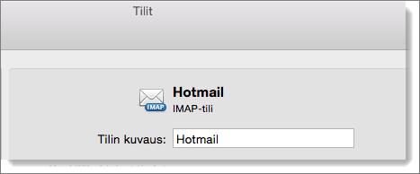 Näkyvissä Outlook-tilin kuvaus ja tyyppi.
