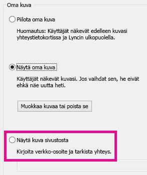 Lyncin Oma kuva -asetusikkuna, jossa sivustosta valittavan kuvan asetus on korostettuna