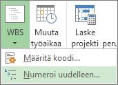 Projekti-välilehden, WBS-painikkeen, Numeroi uudelleen -komennon kuva avattavassa valikossa.