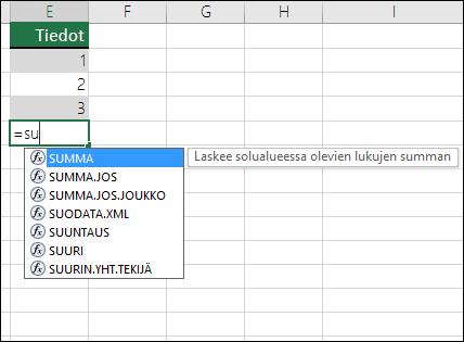 Excel-kaavan automaattinen täydennys