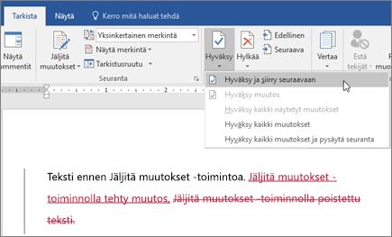 Office 365 Wordin Jäljitä muutokset
