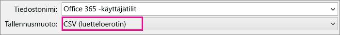 Tiedoston tallentaminen Excelissä CSV-muodossa