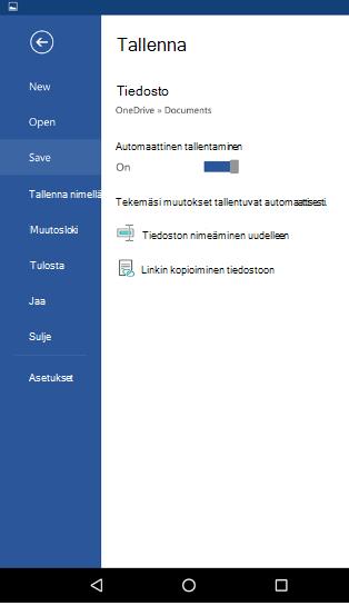 Näyttökuva Android-puhelimeen automaattinen tallennus-asetus