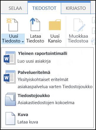 SharePointin Uusi tiedosto -valikko, jossa on mukautetut sisältötyypit