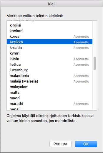 Office for Macin tekstintarkistustyökalut