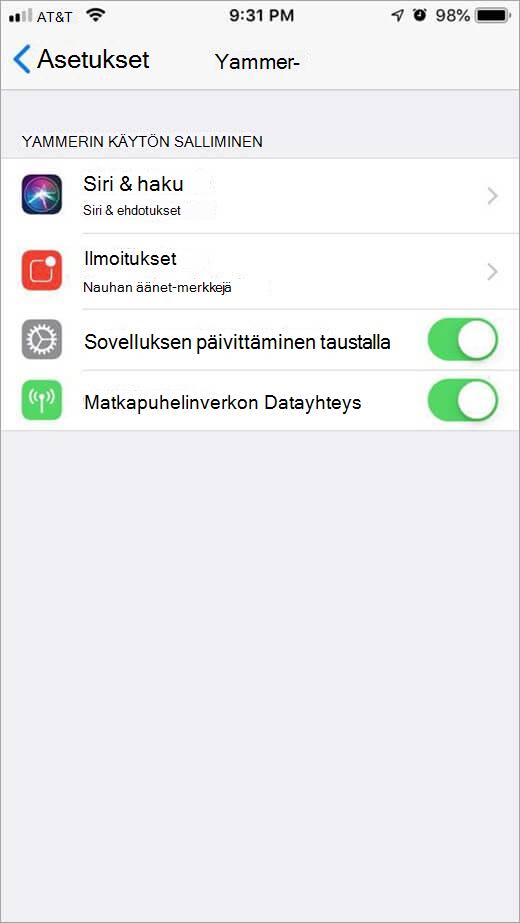 iOS Yammer-asetukset-valikko
