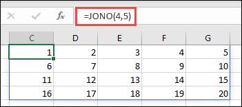 Esimerkki JONO-funktiosta 4 x 5 -matriisilla