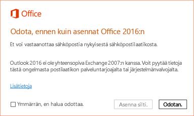 Virhe: Odota Office 2016:n asentamista