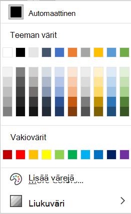 Wordin Fontin väri -valikko.
