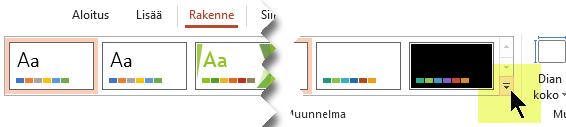 Valitse alanuoli, joka avaa värivarianttien valikoiman
