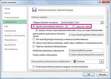 Excelin asetukset -valintaikkunan Tallenna-välilehden Automaattinen tallennus -asetus