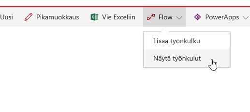 Kuva avattavasta Työnkulku-luettelosta.