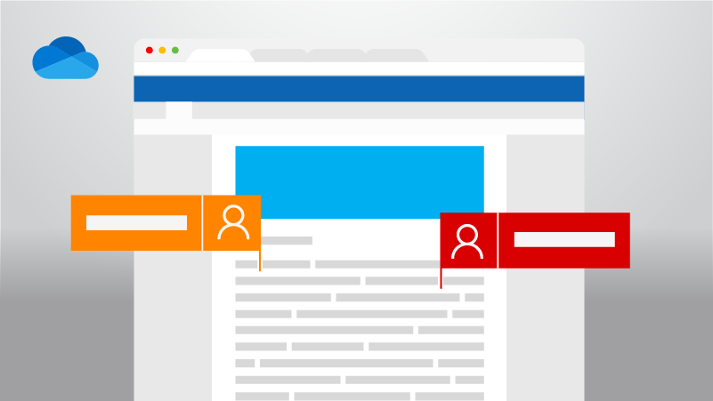 Word-tiedosto, johon kaksi henkilöä tekee muutoksia, sekä OneDrive-logo