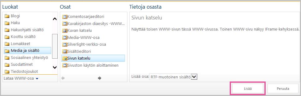 WWW-osan lisääminen