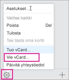 Valitse Toiminnot-valikko ja valitse sitten Vie.