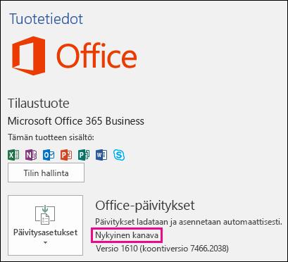 Tuotteen tilitiedot nykyisen kanavan Office 365 Business -tilaukselle