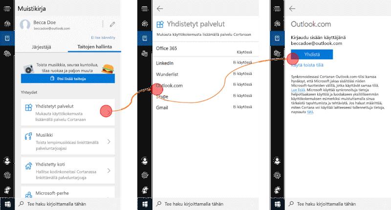 Näyttö kuva, jossa Cortana on auki Windows 10: ssä ja yhdistetyt palvelut-valikko avattuna.