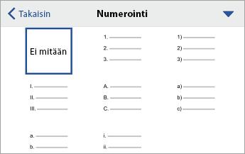 Numerointi-komento, jossa näkyy muotoiluasetuksia